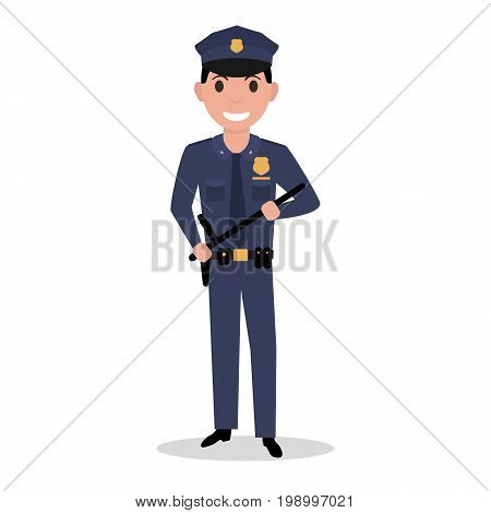 Vector illustration of a cartoon policeman in uniform and a police baton. Isolated white background. Flat style. Male police officer.