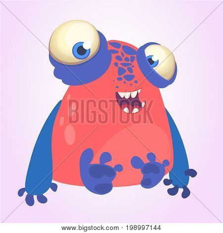 Goofy red monster with blue hands cartoon. Vector illustration