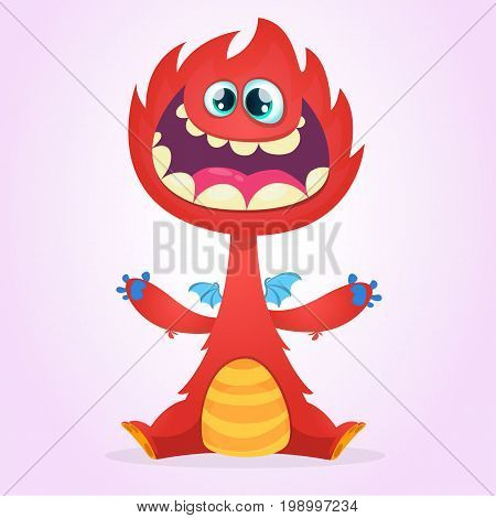 Vector cartoon dragon monster with tiny wings. Red dragon character waving his hands. Furry red dragon illustration. Red monster with big mouth and teeth icon.
