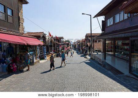 SIDE TURKEY - JULY 07 2015: The shopping street. Anatolian coast - a popular holiday destination in summer of European citizens.