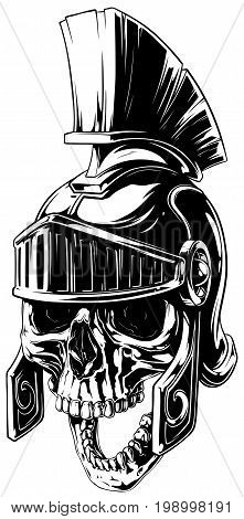 Black and white graphic human skull with open jaw in ancient roman helmet vector