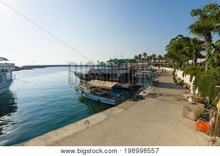 SIDE TURKEY - JULY 07 2015: Seaport. Side - Greek and later Roman city on the Anatolian coast. Founded in the 7th century BC.