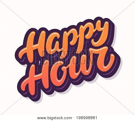 Happy hour sign. Hand lettering. Vector hand drawn illustration.