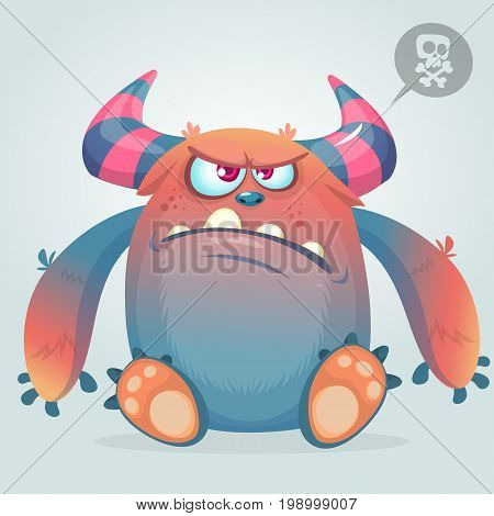 Angry cartoon monster. Halloween vector illustration isolated on white