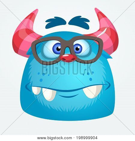 Cartoon monster wearing glasses. Vector illustration of bigfoot sasquatch. Halloween design