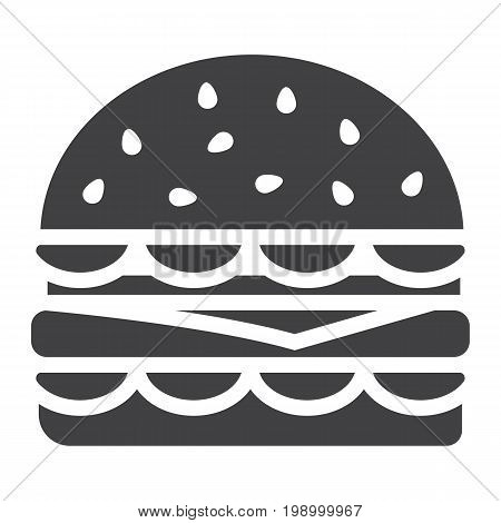 Hamburger glyph icon, food and drink, fast food sign vector graphics, a solid pattern on a white background, eps 10.