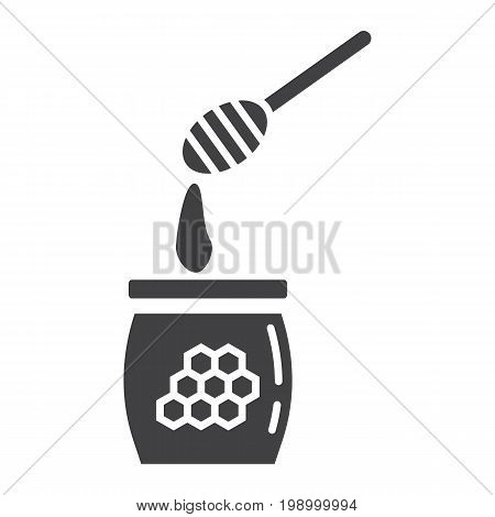 Honey ladle glyph icon, food and drink, beehive sign vector graphics, a solid pattern on a white background, eps 10.