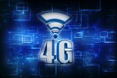 Mobile telecommunication cellular high speed data connection business concept: blue metallic 4G LTE wireless communication technology logo, symbol, icon or button isolated on white background poster