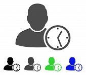 User Temporary Clock flat vector pictograph. Colored user temporary clock, gray, black, blue, green icon versions. Flat icon style for graphic design. poster
