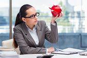 Bankrupt broke businesswoman with piggy bank poster