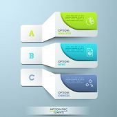 Three lettered paper white elements with pictograms and colorful text boxes. Creative infographic design template. 3 main features of provided service concept. Vector illustration for presentation. poster