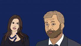 8 Aug, 2017: Russian billionaire and Chelsea FC owner Roman Abramovich and his wife Dasha Zhukova to split. Dasha Zhukova and Roman Abramovich vector portraits