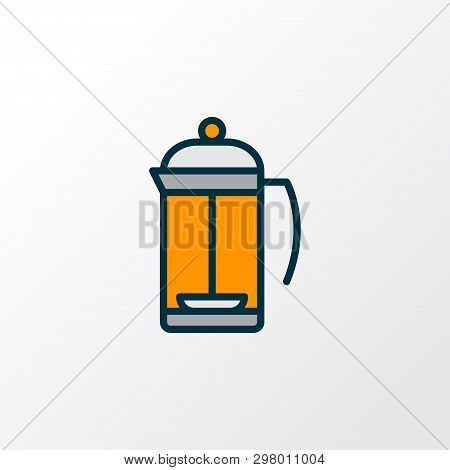 French Press Icon Colored Line Symbol. Premium Quality Isolated Teatime Element In Trendy Style.