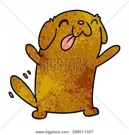 textured cartoon illustration kawaii of a cute dog