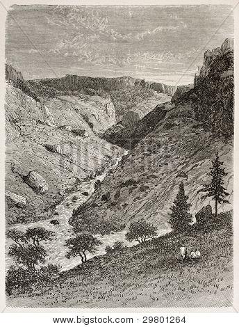 Reb river gorge old view. Created by Ciceri after Lejean, published on Le Tour du Monde, Paris, 1867