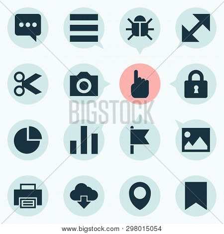 Interface Icons Set With Lock, Storage, Chatting And Other Map Pin   Elements. Isolated Vector Illus