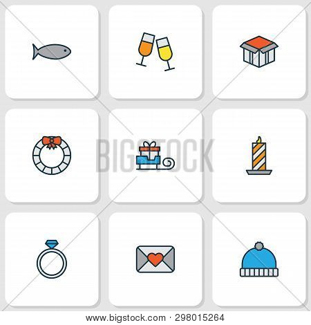 Christmas Icons Colored Line Set With Santa Gift, Fish, Door Decoration And Other Stemware Elements.