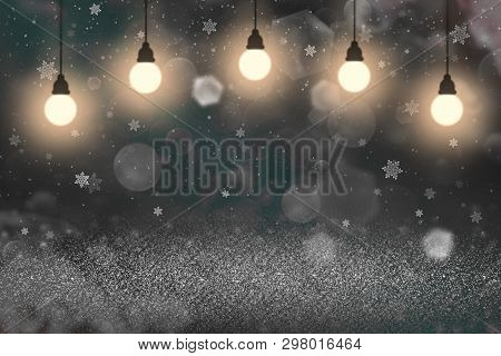 Pretty Brilliant Abstract Background Glitter Lights With Light Bulbs And Falling Snow Flakes Fly Def