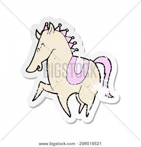 retro distressed sticker of a cartoon prancing horse
