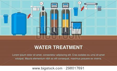Water Treatment System Flat Banner With Text Space. Filter In Cut Vector Poster. Water Filtration Pr