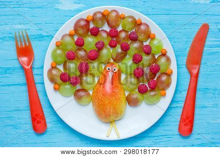 Peacock Fruit Berry Plate, Colorful Peacock Fruit Salad From Pear, Grapes And Raspberries, Fun Food