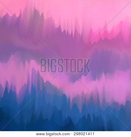 Unusual Blurred Background In Mauve And Purple-blue Colors, Imitation Of Paint Drips, Vector. Excell