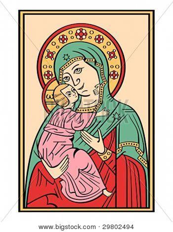 Folk russian lubok drawing of Bogoroditsa (Virgin Mary) with baby Jesus