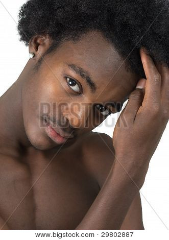 Beautiful African American Man With Long Hair