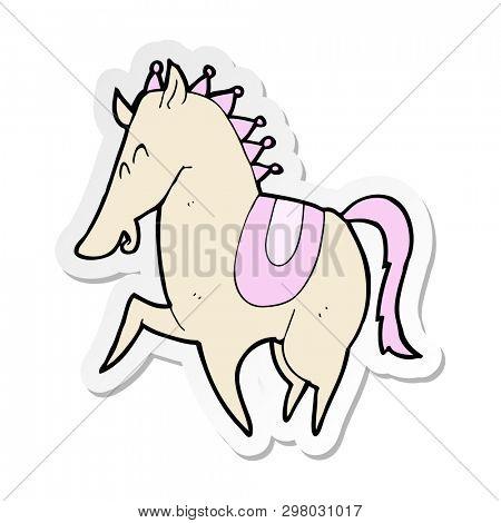 sticker of a cartoon prancing horse