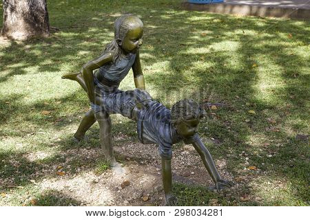 Bayamon/puerto Rico - February 26, 2019: Statue Of Childen Playing Inside Central Park For Kids