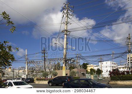 Bayamon/puerto Rico - February 26, 2019: Several Electrical Poles That Power City.