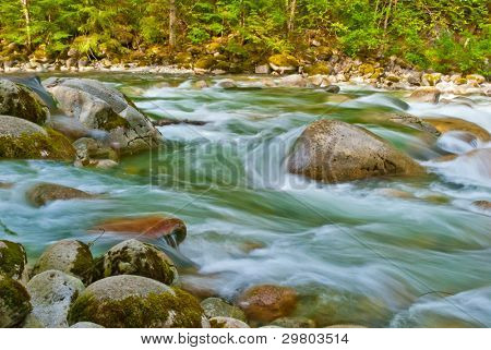 Beautiful Mountain River at the Riverside Park. North Vancouver, British Columbia, Canada.
