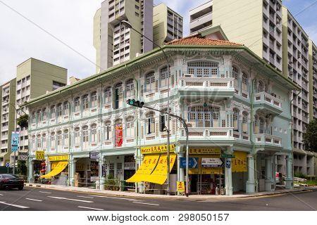Singapore - 23rd November 2016: Chinese Heritage Shophouses On Jalan Besar, Rochor. . Many Shop Hous
