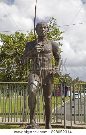Bayamon/puerto Rico - February 26, 2019: Bronze Statue Of Jibaro And Horse Near Central Park For Chi