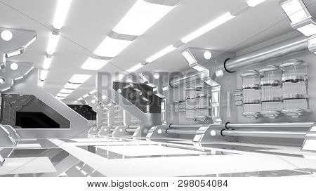 Clean sterile futuristic science fiction interior of a laboratory or spaceship. Generic technology and advanced engineering background. 3D rendering.