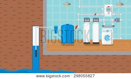 Water Supply And Purification System Illustration. Well Pump In Ground Vector Drawing. Liquid Purifi