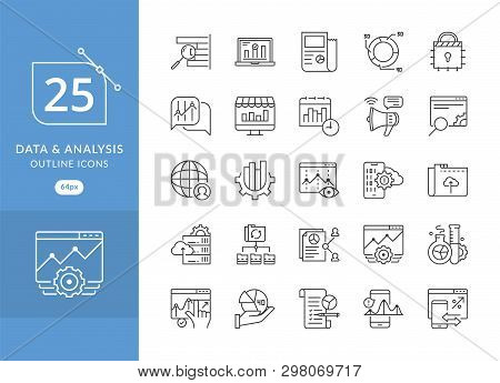 Simple Set Of Data Analysis Related Vector Line Icons. Data Analytic Icon Set, Included The Icons As