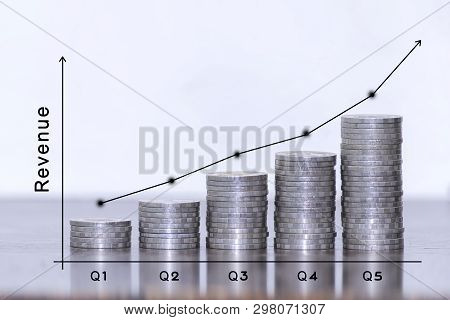 Investment Concept,coins Graph Stock Market,thinking About The Increasing Revenue On Chart With Rgb
