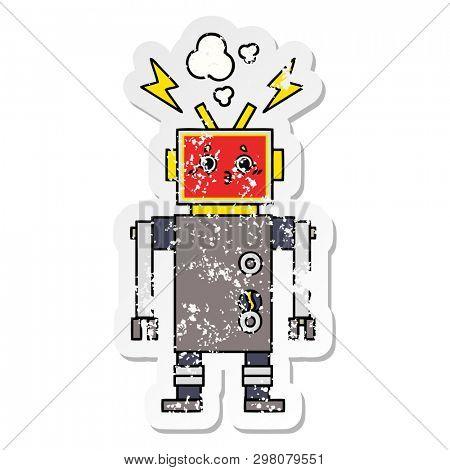 distressed sticker of a cute cartoon robot malfunction