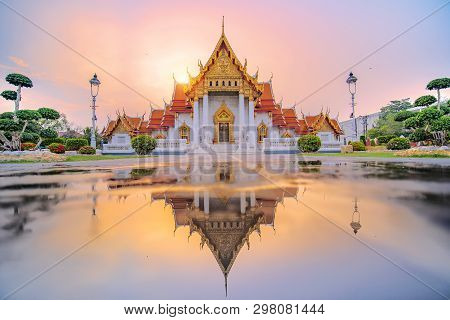 Marble Temple Of Bangkok, Thailand. The Famous Marble Temple Benchamabophit. Is A Popular Tourist De