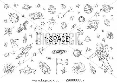 Doodle Space. Trendy Universe Pattern, Star Astronaut Meteor Rocket Comet Astronomy Elements. Vector