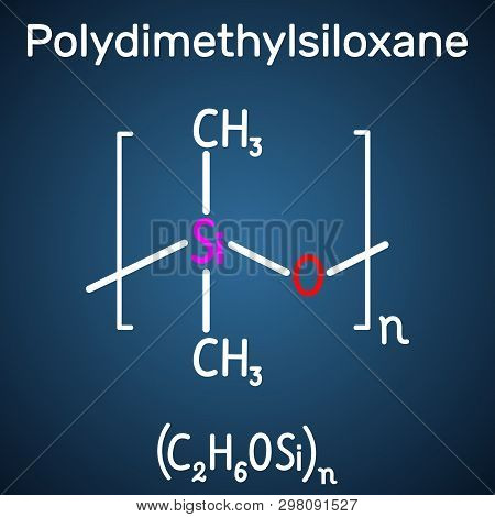 Polydimethylsiloxane, Pdms, Silicone Polymer, Molecule. Structural Chemical Formula And Molecule Mod