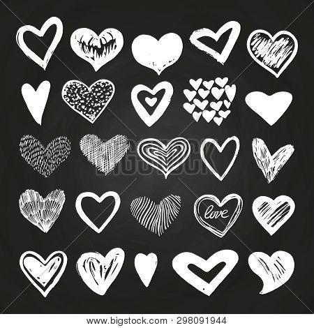 Sketch White Vector Hearts Set On Blackboard. Love Symbol Heart On Blackboard Drawing Illustration