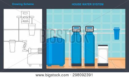 House Water System Vector Web Banner With Text. Drawing Scheme. Plumbing Pipes Flat Illustration. Re
