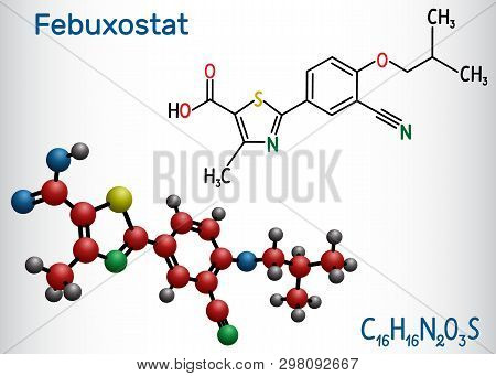 Febuxostat Molecule. Structural Chemical Formula And Molecule Model