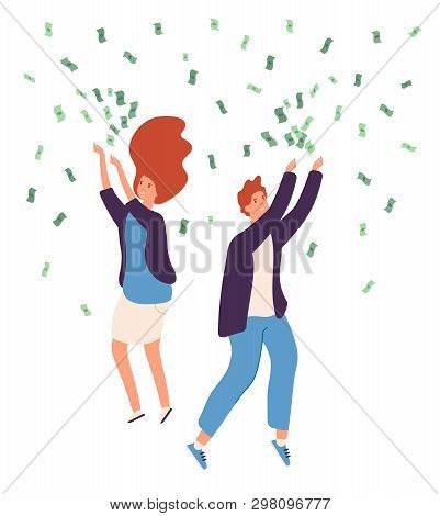 People Money Rain. Happy Persons Raining Money Dollars Gold Coins Cash Lucky Rich Man Woman Business