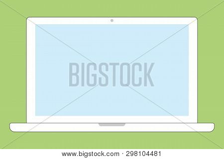 White Color Notebook Laptop Front View With Blue Screen And Camera On Gree Background. White Noteboo