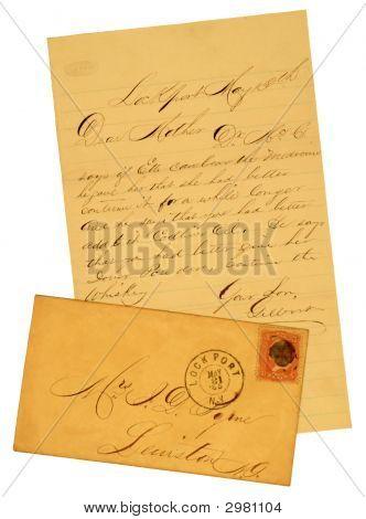 Старые письма и конверт от 1865.