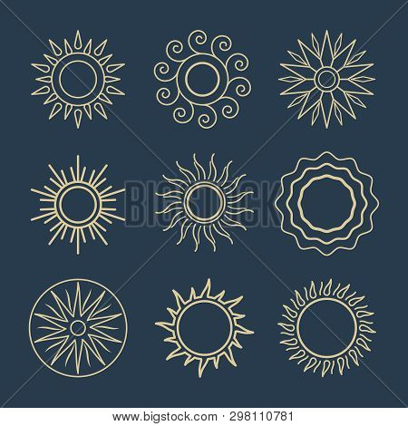 Abstract Sun Line Icons. Vector Suns Symbols, Summer Sunshine Outline Illustrations, Spring Or Sunny
