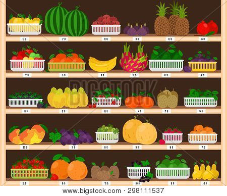 Fruits Supermarket Shelves. Food Farm Store Interior With Fruit Showcase, Fresh Grocery Shop With Ec